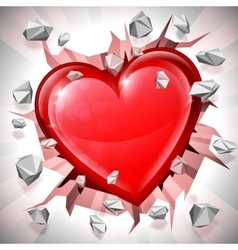 Heart breaking through wall vector