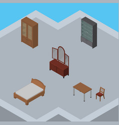Isometric furnishing set of chair bedstead vector