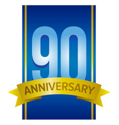 Label for 90th anniversary vector