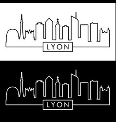 Lyon skyline linear style editable file vector