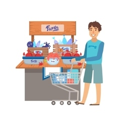 Man shopping for fresh seafood shopping mall and vector