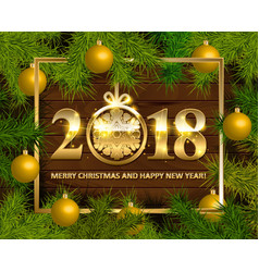 marry christmas and happy new year 2018 vector image vector image
