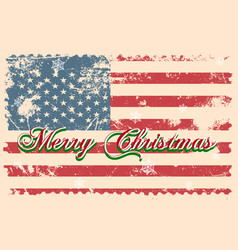 Merry christmas lettering on a usa flag vector
