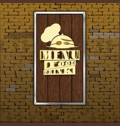 restaurant menu old brick wall wood sheet vector image vector image