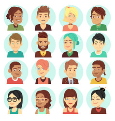 satisfied people faces happy laughing people vector image