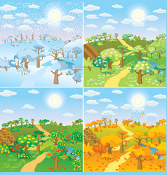 Seasons in the countryside vector