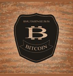 shield bitcoin emblem vector image vector image