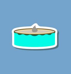 sweet dessert in paper sticker cheesecake vector image