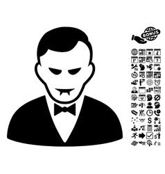 Vampire flat icon with bonus vector