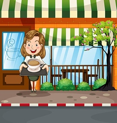 Waitress serving hot coffee at the shop vector