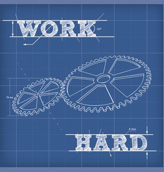 white outline gears blueprint vector image vector image