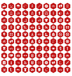 100 men health icons hexagon red vector