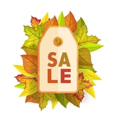 Autumn sale tag label template fall pricetag vector