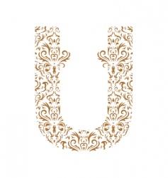 floral letter u ornament font vector image