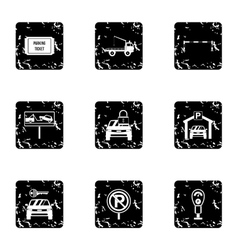 Parking area icons set grunge style vector