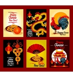 Chinese new year festive greeting card set design vector