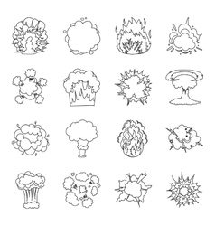 Explosions set icons in outline style big vector