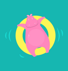 pink hippo swims in the pool vector image