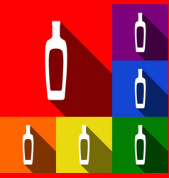 olive oil bottle sign set of icons with vector image
