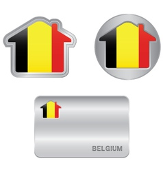 Home icon on the belgium flag vector