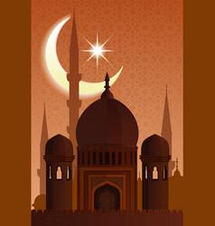 Arab islamic architecture mosque moonlit night vector