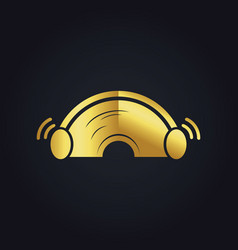 Sound ear plug gold logo vector