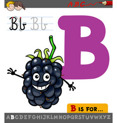 Letter b with cartoon blackberry fruit vector