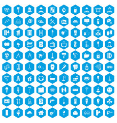 100 renovation icons set blue vector