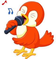 Cute orange bird singing vector
