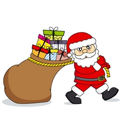 Santa claus dragging a bag of gifts vector