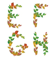 English alphabet made up of branches and leaves vector