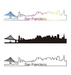 San francisco skyline linear style with rainbow vector