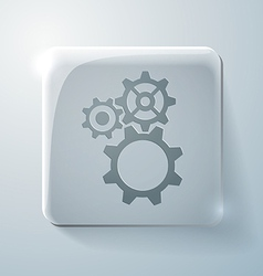 Glass square icon symbol settings cogwheel vector