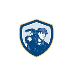 Cameraman film crew hd camera video shield retro vector