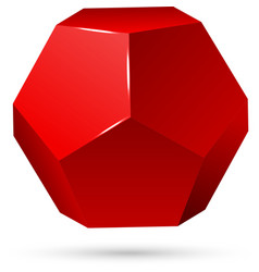 Single red dodecahedron vector