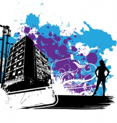 Floral building and woman vector