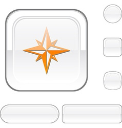 Compass white button vector