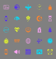 Design time color icons on gray background vector