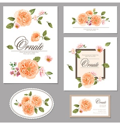 Set roses floral vintage cards vector