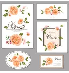 Set roses floral vintage cards vector image