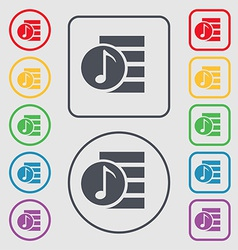 Audio mp3 file icon sign symbol on the round and vector