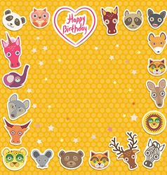 Funny animals happy birthday orange polka dot vector