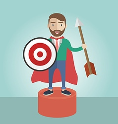 Target businessman superhero leader strategy vector