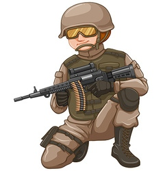 Soldier with rifle gun vector