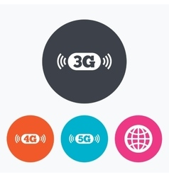 Mobile telecommunications icons 3g 4g and 5g vector