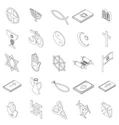Religious symbols icons set isometric 3d style vector
