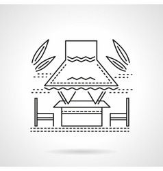 Tropical gazebo flat line icon vector