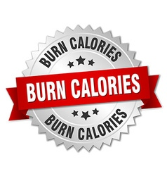 Burn calories 3d silver badge with red ribbon vector