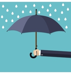 Hand of man holding umbrella under rain vector