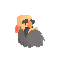 bald man head brutal male bearded face cartoon vector image